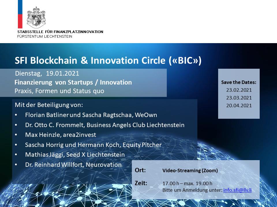 """SFI BIC """"Finanzierung von Startups/Innovation"""""""