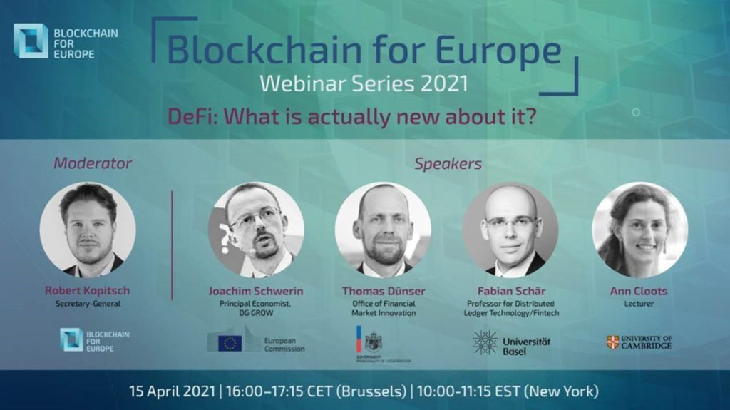 Blockchain4Europe WEBINAR: DeFi – What is actually new about it?